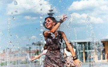 погода, лето, жара, девушка, фонтан