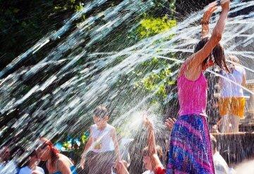 погода, лето жара, фонтан