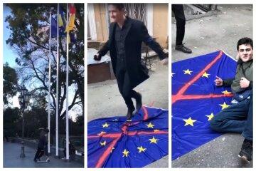 """""""Сорвали и растоптали"""": в центре Одессы малолетние вандалы надругались над флагом, видео"""
