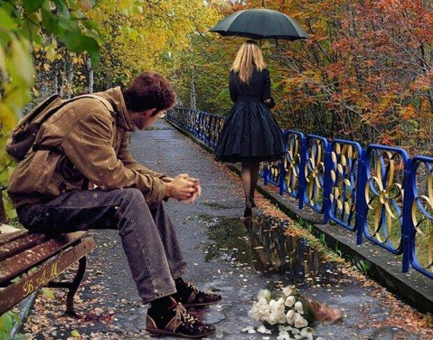 ссора, пара, осень, мужчина и женщина