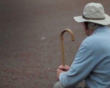 пенсионер инвалид палочка грустно