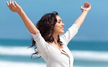 радость, женщина, солнце