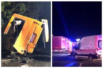 Вантажівка знесла з дороги рейсовий автобус: кадри фатальної аварії на трасі Київ-Одеса