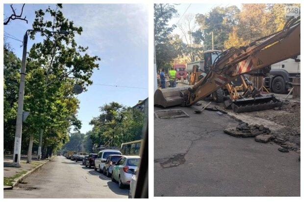 Одесситы застряли в диких пробках, город продолжает страдать из-за коммунальщиков: кадры