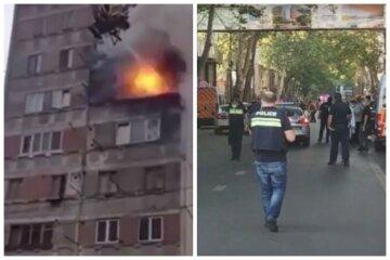 В многоэтажке прогремела серия взрывов, выбило окна и вспыхнул пожар: видео ЧП