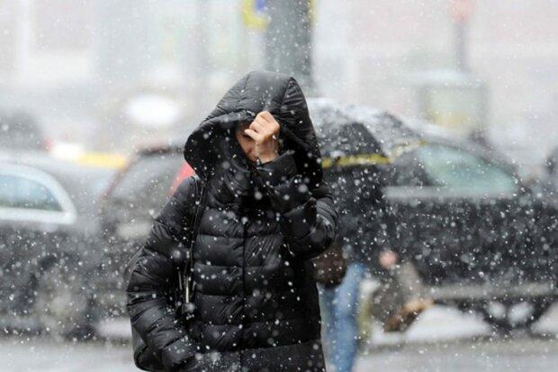 Негода, мокрий сніг, циклон