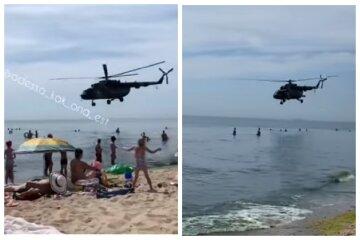 """""""Сдувает кепки"""": над пляжами под Одессой кружат вертолеты, видео"""