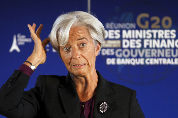 IMF head Christine Lagarde reacts during a news conference at the G20 meeting at the ministry in Par
