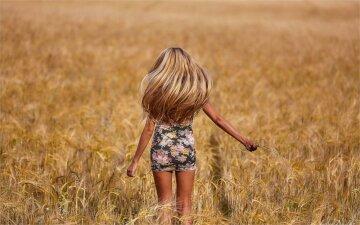девушка, поле, лето