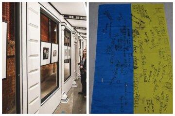 """Флаги Украины привезли в московский музей, фото: """"расписан пожеланиями бойцов ВСУ"""""""