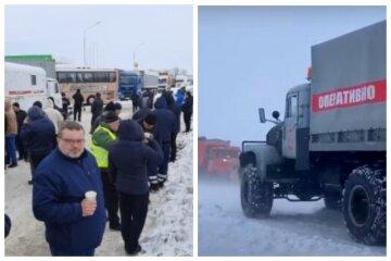 Автомобили застряли в 30-километровой пробке из-за непогоды: кадры бедствия на трассе Киев-Одесса