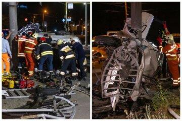 Моторошна аварія на українській трасі: машина вилетіла на тротуар і врізалася в стовп, кадри ДТП