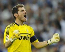 Real Madrid's goalkeeper Casillas celebrates his team's second goal against Barcelona du