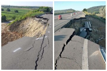 Стихія завдала удару по трасі Київ-Одеса, дорога частково обрушилася: кадри НП