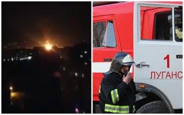 """Потужний вибух прогримів у Луганську, оголошена тривога: """"Заграва до неба..."""", кадри і причина НП"""