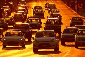 Дорога, автомобиль, жара, пробка
