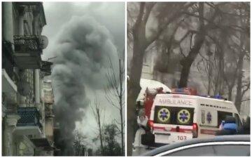 Центр Києва в диму, потужна пожежа охопила історичну будівлю: кадри з місця події