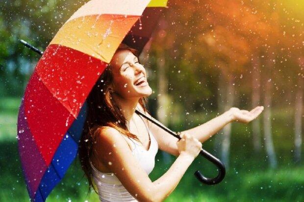 погода, девушка, солнце, дождь, радость