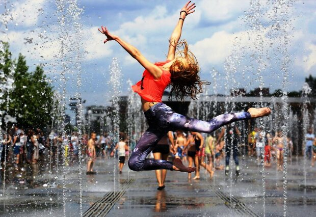 погода, лето, жара, фонтан, девушка