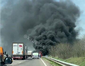 Автобус с пассажирами загорелся на трассе Киев-Одесса, кадры: клубы черного дыма заполонили небо