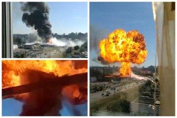 Потужні вибухи прогриміли на АЗС, є перші дані про поранених: кадри НП в Росії