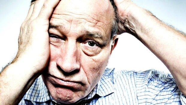 слабоумие, мужчина, голова, мигрень, потеря памяти