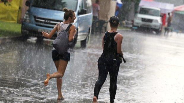 лето, погода, дождь, девушки, лужи