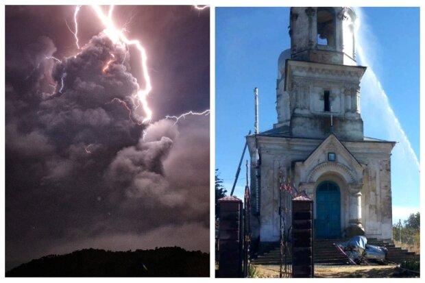 Стихія розгулялася в Одеській області, блискавка вдарила в храм: кадри пожежі