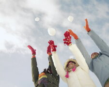 зима, счастье, радость, женщина, пара
