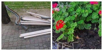 """Вандали орудують у Харкові, фото руйнувань: """"зламані лавки і розграбовані...."""""""