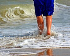 ноги, пляж, парень, море, океан, берег