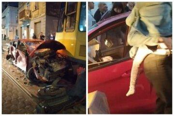 Водитель столкнулся с двумя трамваями, в авто был ребенок: кадры и детали ДТП