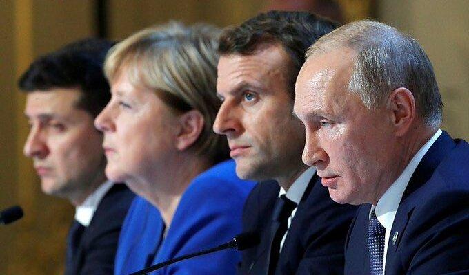 Зеленский, Путин, Макрон, Меркель нормандская четверка
