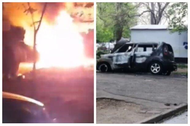 """Волна автоподжогов прокатилась по Одессе: """"Огонь на весь двор"""", видео ЧП"""