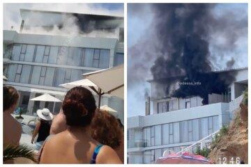 На пляже в Одессе вспыхнул элитный отель, все в дыму: кадры с места пожара