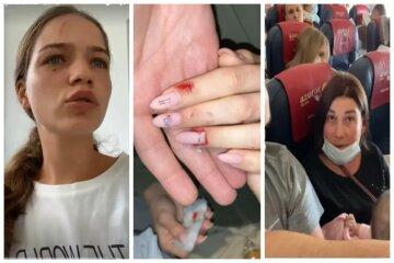 """Українку жорстоко побили в літаку, кадри: """"Мені довелося захищатися"""""""