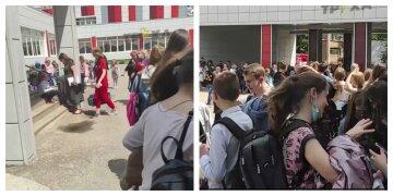 НП в Харківській школі, кадри з місця: дітей і вчителів терміново евакуювали