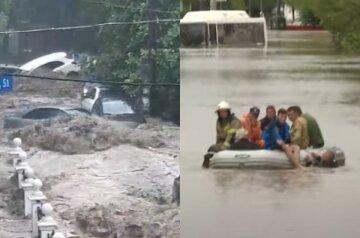 """Крим """"потопає"""", вируючий потік зносить все на своєму шляху: кадри масштабної повені в Ялті"""