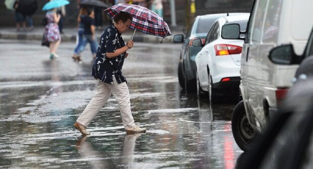 погода, дождь, зонт, лужи