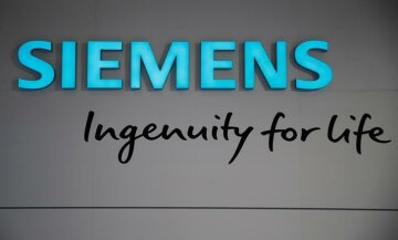 The logo of Germany's largest engineering company Siemens is pictured at the company's s
