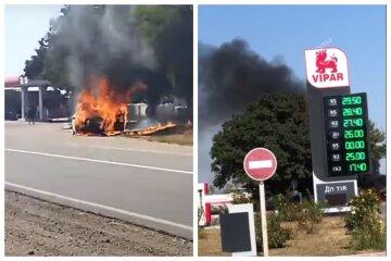 Пламя охватило авто при выезде из заправки: видео ЧП под Одессой