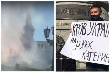 """Екатерину II хотят снести в центре Одессы, люди окружили памятник: """"нужно убрать с улицы на свалку"""""""
