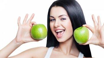 девушка, яблоки