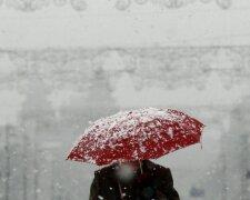 мокрый снег, погода, зима