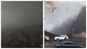 """Москва погрузилась во """"тьму"""" посреди дня, ураган сносит крыши, затапливает метро: кадры разгула стихии"""