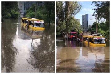 Маршрутка с людьми затонула в Одессе, видео: пассажиры выходили вплавь