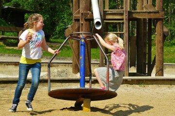 детская площадка, дети, качели