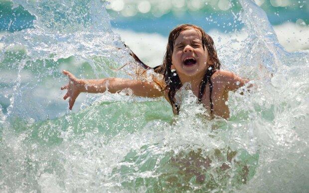 девочка, море, дети, купаться, купание, пляж, лето
