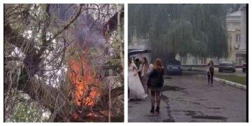 В Харькове возле центрального ЗАГСа вспыхнул пожар: фото с места событий