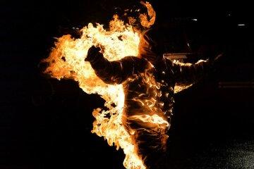 огонь, человек, пожар